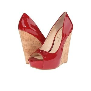 Jessica Simpson bethani red patent leather wedge
